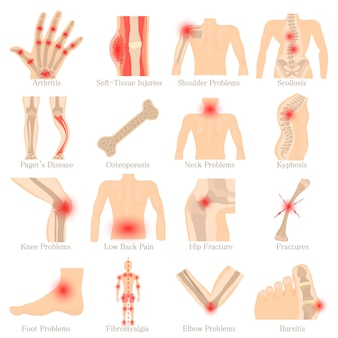 Zestaw ikon chorób ortopedycznych