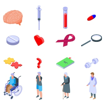 Zestaw ikon choroby alzheimera, izometryczny styl