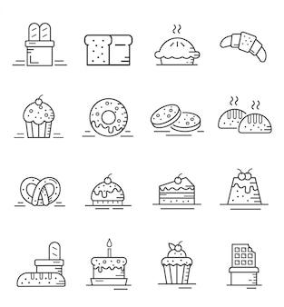 Zestaw ikon ciasto i piekarnia w stylu konspektu