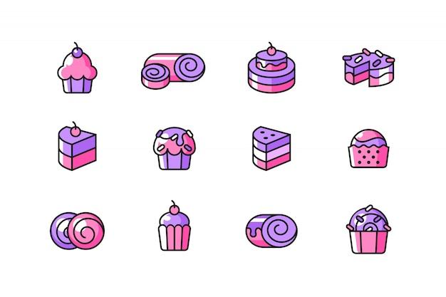 Zestaw ikon ciasto