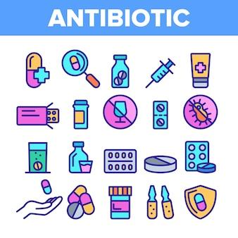 Zestaw ikon cienka linia antybiotyku