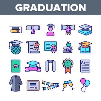 Zestaw ikon cienka linia ukończenia szkoły