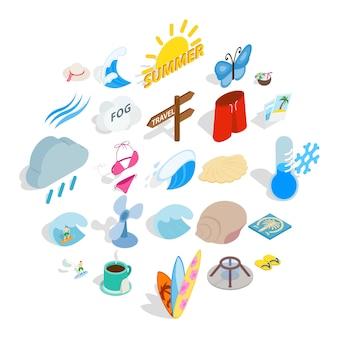 Zestaw ikon ciepła. izometryczny zestaw 25 ikon ciepła dla sieci web na białym tle