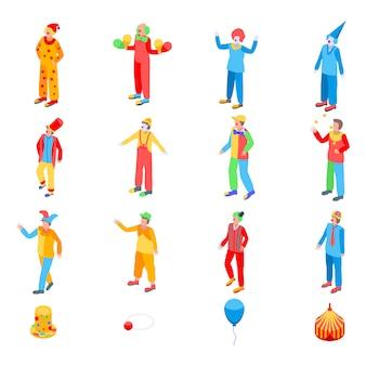 Zestaw ikon clown, izometryczny styl