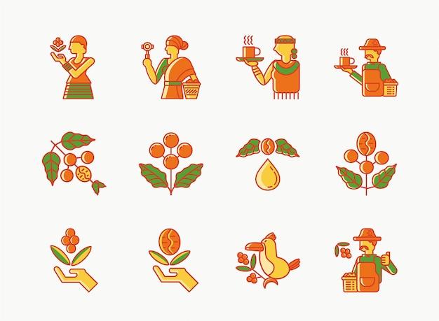 Zestaw ikon colorline kawy etiopia jednego pochodzenia