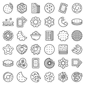 Zestaw ikon cookie, styl konturu