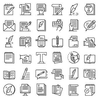 Zestaw ikon copywriter, styl konturu