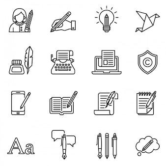 Zestaw ikon copywriting. cienki zapas w stylu linii.