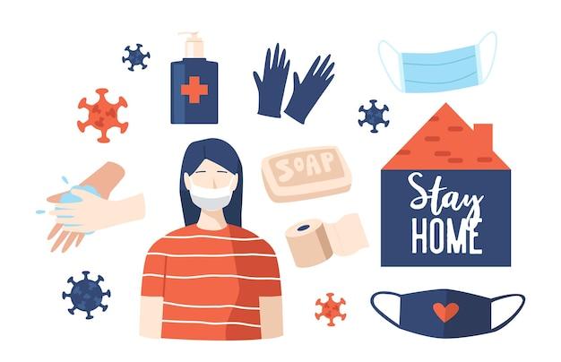 Zestaw ikon covid tematu. kobieta w masce medycznej, komórki koronawirusa, mycie rąk i mydło, środek dezynfekujący i rękawiczki