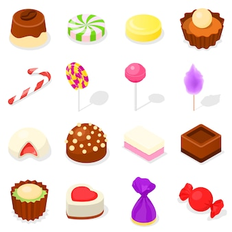 Zestaw ikon cukierków, styl izometryczny