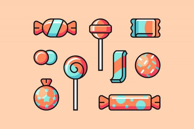 Zestaw ikon cukierków
