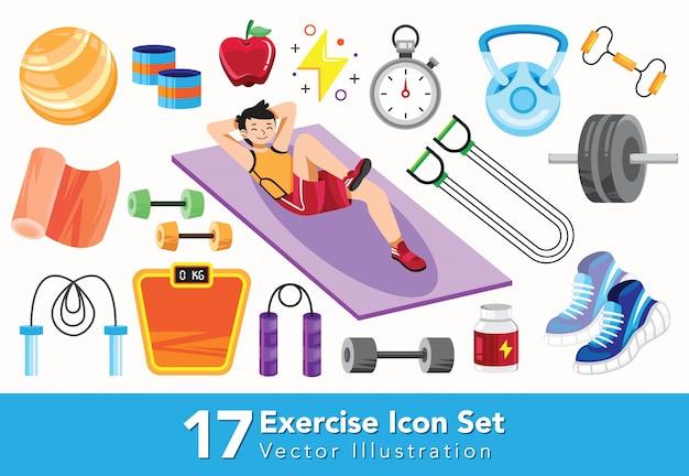 Zestaw ikon ćwiczeń płaski styl ilustracji
