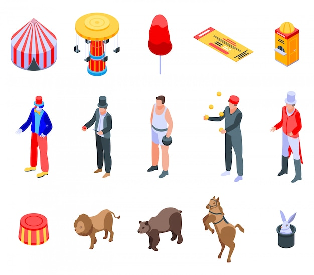 Zestaw ikon cyrk, izometryczny styl