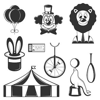 Zestaw ikon cyrku na białym tle. czarno-białe symbole cyrkowe i elementy projektu.