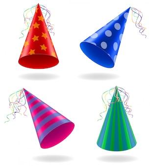 Zestaw ikon czapki dla ilustracji wektorowych uroczystości urodzinowych