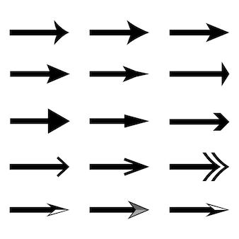 Zestaw ikon czarnej strzałki