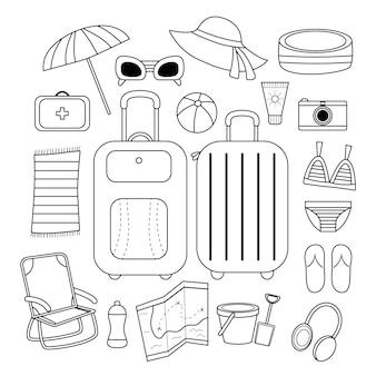 Zestaw ikon czarno-biały. podróż na plażę. letnia wycieczka. walizka i torba podróżna. prosty styl.