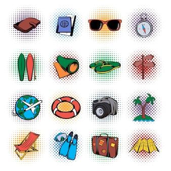 Zestaw ikon czasu do podróży. zestaw ikon pop-artu do podróży w sieci
