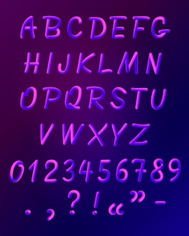 Zestaw ikon czcionki płynne neon