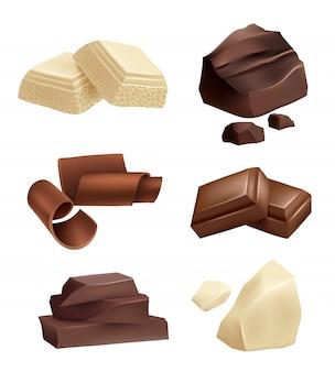 Zestaw ikon czekolady. realistyczne zdjęcia różnych rodzajów czekolady