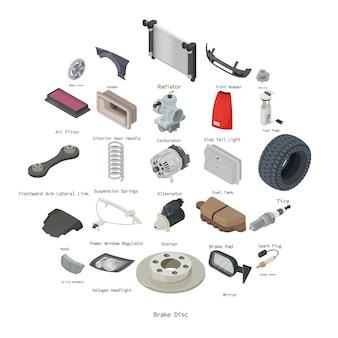 Zestaw ikon części samochodowych, styl izometryczny