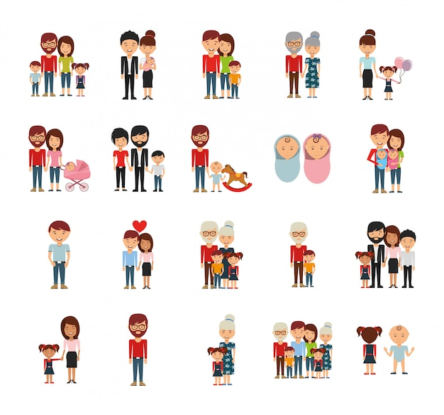Zestaw ikon członków rodziny