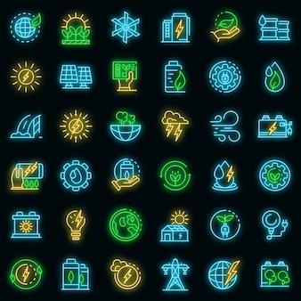 Zestaw ikon czystej energii. zarys zestaw ikon wektorowych czystej energii w kolorze neonowym na czarno