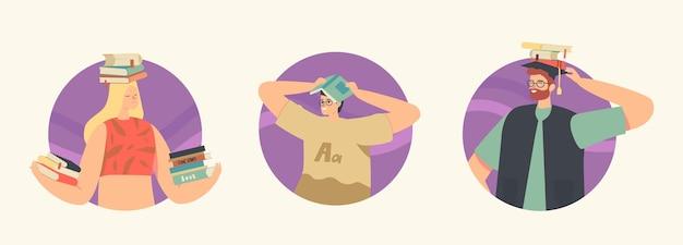 Zestaw ikon czytelników czytających książki gospodarstwa nad głowami. młodzi studenci lub moli książkowi spędzają czas w bibliotece, postacie przygotowują się do egzaminu w magazynie literatury. liniowa ilustracja wektorowa