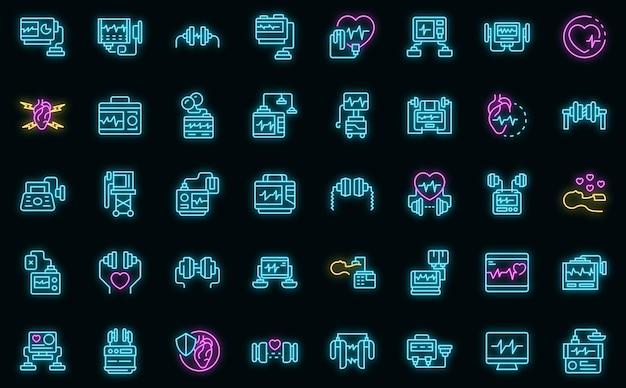 Zestaw ikon defibrylatora wektor neon