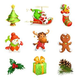 Zestaw ikon dekoracji świątecznej