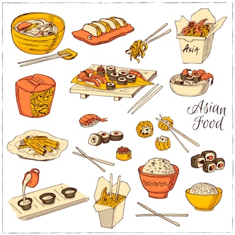 Zestaw ikon dekoracyjne chińskie jedzenie