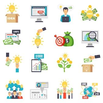Zestaw ikon dekoracyjne crowdfunding