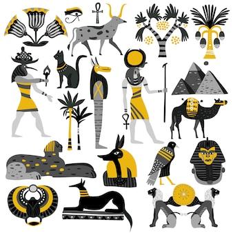 Zestaw ikon dekoracyjne egipt