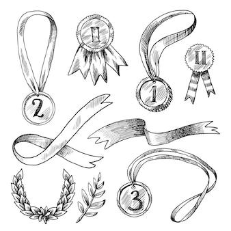 Zestaw ikon dekoracyjne nagrody
