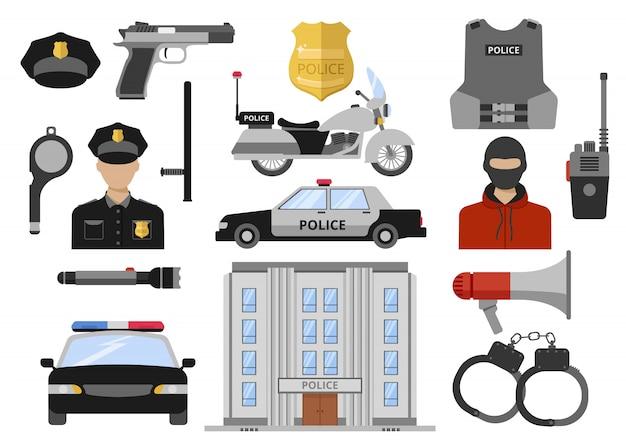Zestaw ikon dekoracyjne płaskie policji