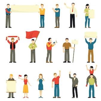 Zestaw ikon dekoracyjne protestujących ludzi