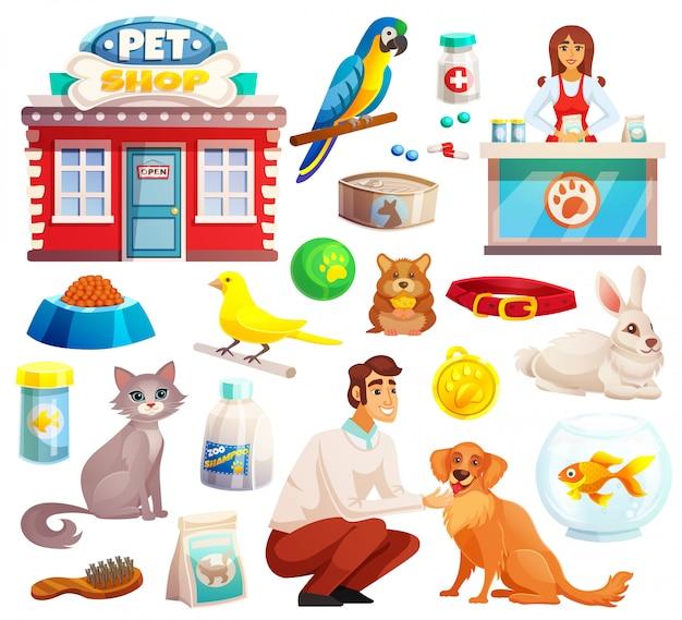 Zestaw ikon dekoracyjne sklep zoologiczny
