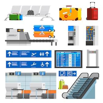 Zestaw ikon dekoracyjne wnętrza płaski kolor lotniska