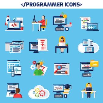 Zestaw ikon dekoracyjny płaski programista