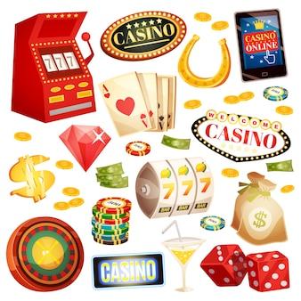 Zestaw ikon dekoracyjnych kasyna