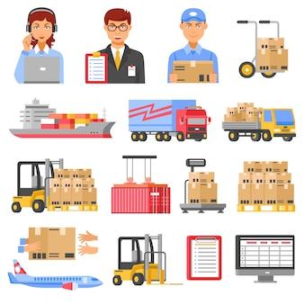 Zestaw ikon dekoracyjnych logistyki i dostawy