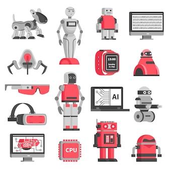 Zestaw ikon dekoracyjnych sztucznej inteligencji
