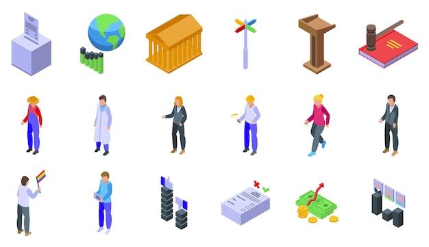 Zestaw ikon demokracji. izometryczny zestaw ikon wektorowych demokracji do projektowania stron internetowych na białym tle