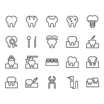 Zestaw ikon dentystycznych.