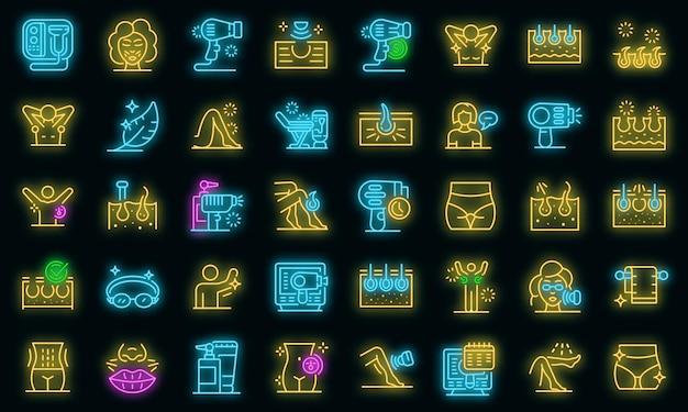 Zestaw ikon depilacji laserowej. zarys zestaw laserowych ikon wektorowych do usuwania włosów w kolorze neonowym na czarno