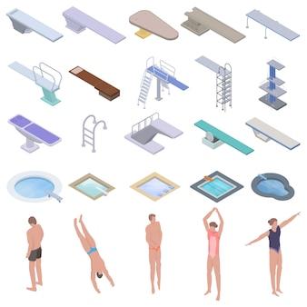 Zestaw ikon deska do nurkowania, styl izometryczny