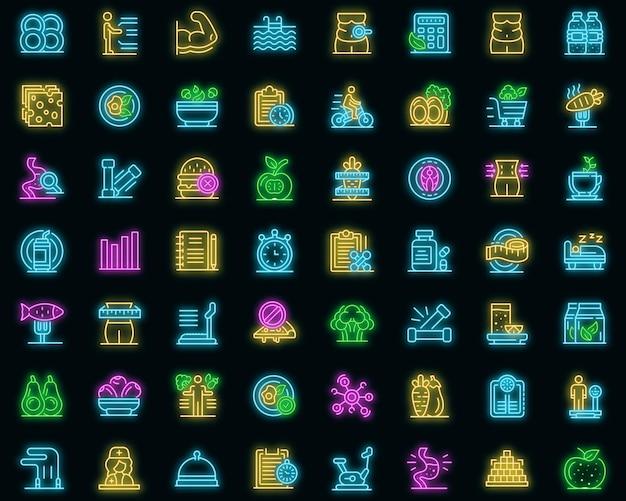 Zestaw ikon dietetyka. zarys zestaw ikon wektorowych dietetyka w kolorze neonowym na czarno