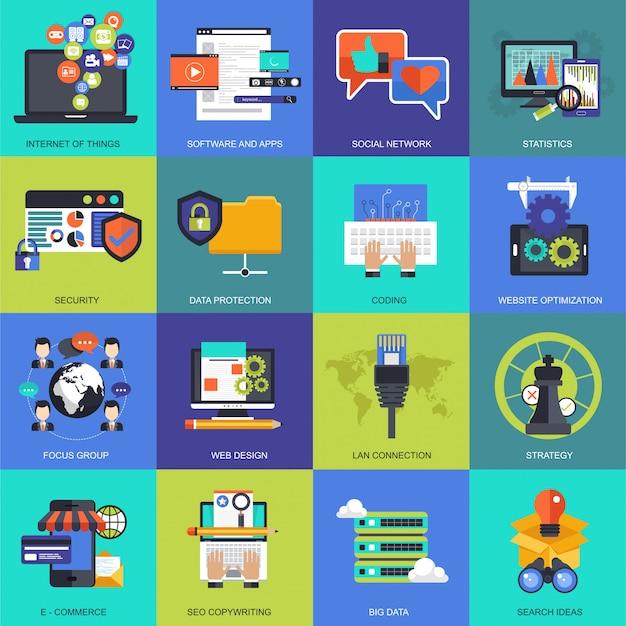 Zestaw ikon dla biznesu, zarządzania, technologii i finansów