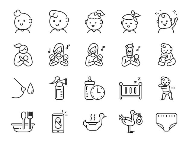 Zestaw ikon dla dzieci.