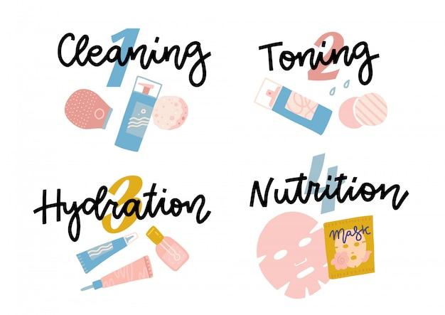 Zestaw ikon dla infografiki do pielęgnacji skóry.